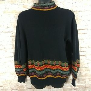 Pullover sweater Black w/multicolor trim XL